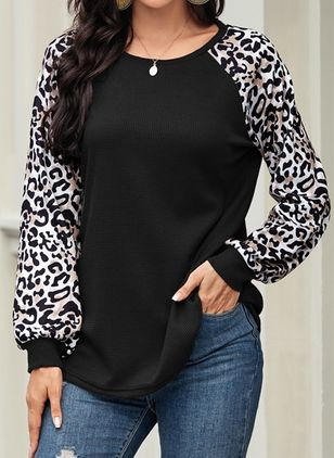 Leopard Round Neck Long Sleeve Casual T-shirts (105810501)