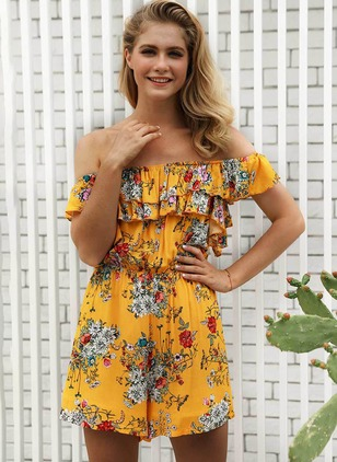 Polyester Floral Short Sleeve Flare Sleeve Jumpsuits & Rompers