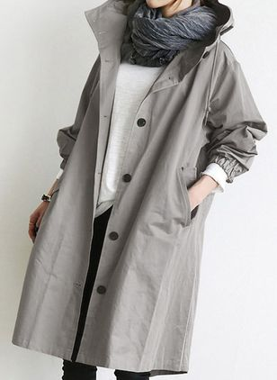 Long Sleeve Hooded Buttons Pockets Coats