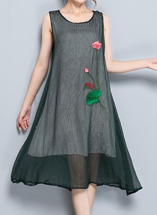 Casual Floral Underwear Round Neckline A-line Dress (1507715)