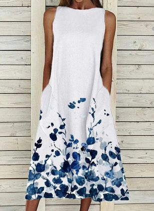 Casual Floral Tunic Round Neckline A-line Dress (147207833)