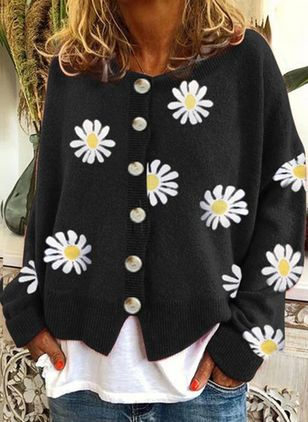 Round Neckline Floral Casual Regular Buttons Sweaters (107520280)