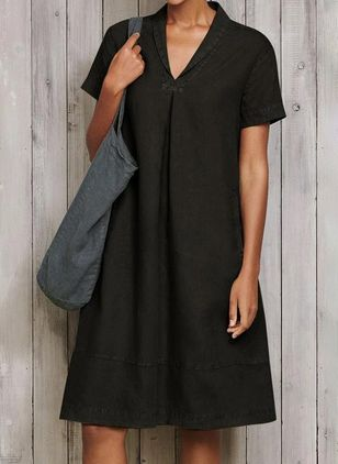 Casual Solid Tunic V-Neckline A-line Dress (4038704)