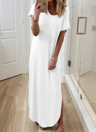 Casual Solid Tunic Round Neckline A-line Dress (4541076)