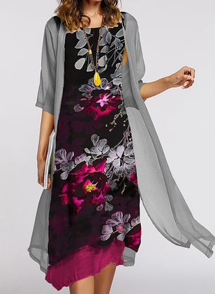 Casual Floral Tunic Round Neckline Shift Dress (1501113)