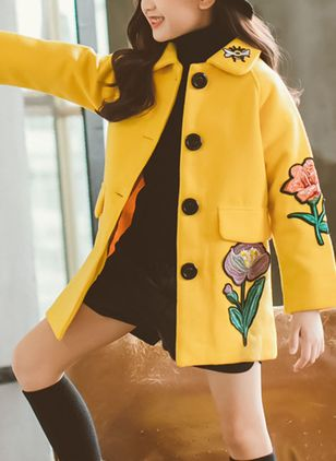 Girls' Casual Floral Collar Coats