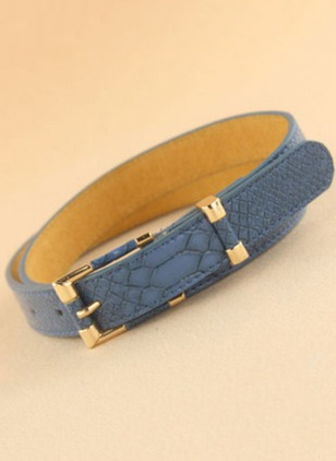 Casual Leatherette Metal Color Block Belts