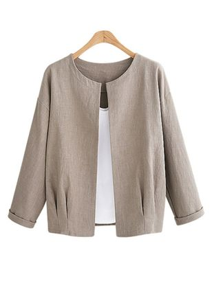 Long Sleeve Round Neck Coats Jackets