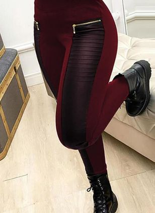 Sexy Skinny Zipper High Waist Polyester Leggings (146884308)