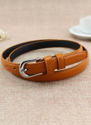 Leatherette Metal Color Block Belts