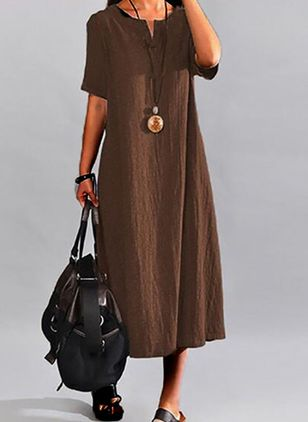 Plus Size Casual Solid Tunic Round Neckline A-line Dress (4355619)