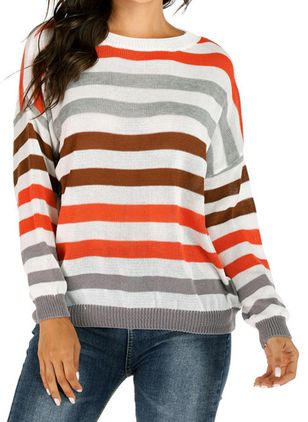 Round Neckline Stripe Casual Loose Regular Shift Sweaters (6211281)