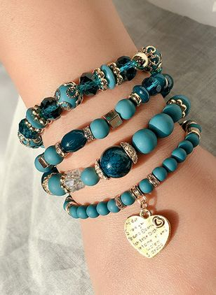 Casual Ball Heart Gemstone Beaded Bracelets