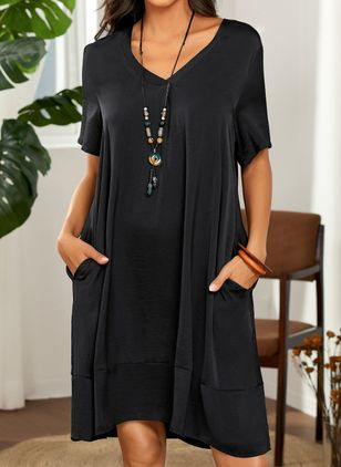 Casual Solid Tunic V-Neckline Shift Dress (1534079)