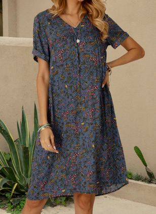 Casual Floral Tunic V-Neckline A-line Dress (101326362)