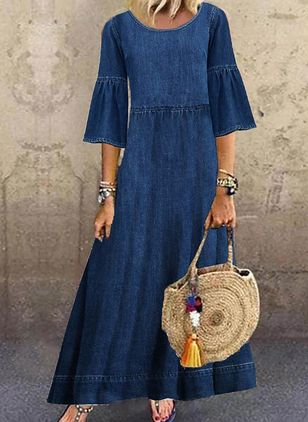 Shift Dress Round Neckline Denim Dress (100038404)