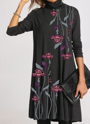 Casual Floral Tunic Draped Neckline Shift Dress (1485789)
