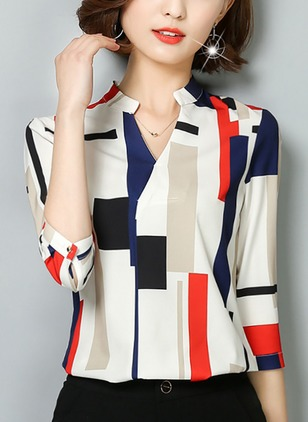 Color Block V-Neckline 3/4 Sleeves Blouses