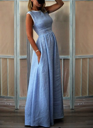 Cotton Solid Sleeveless Maxi A-line Dress