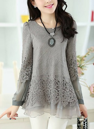 Solid Lace Round Neckline Long Sleeve Blouses