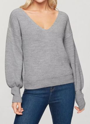 V-Neckline Solid Casual Loose Regular Buttons Sweaters (146884080)