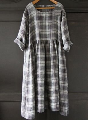 Plus Size Tunic Plaid Round Neckline Casual Midi Plus Dress (4073442)