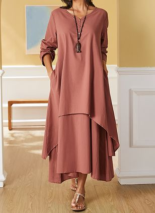 Plus Size Casual Solid Tunic V-Neckline A-line Dress (1538349)