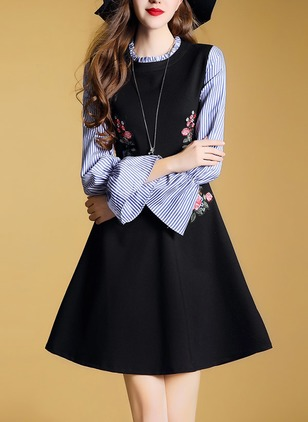 Floral Embroidery Drop waist Long Sleeve A-line Dress