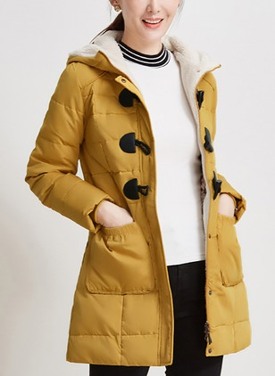 Polyester Long Sleeve Hooded Buttons Duffle Coats Coats