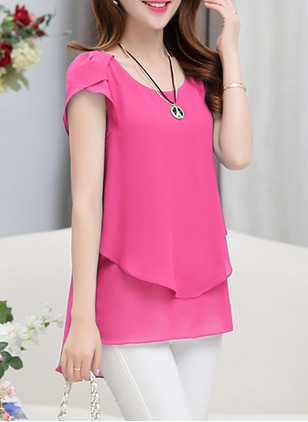 Solid Casual Chiffon Round Neckline Short Sleeve Blouses  ...