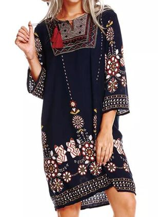 Casual Floral Tunic Round Neckline Shift Dress (1530798)