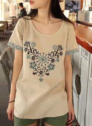 Cotton Linen Floral Boat Neckline Short Sleeve Casual T-shirts