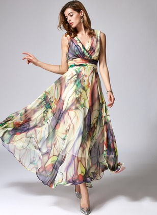 Floral V-Neckline Sleeveless Maxi A-line Dress