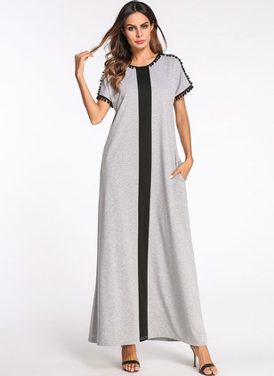 Cotton Stripe Short Sleeve Maxi Shift Dress