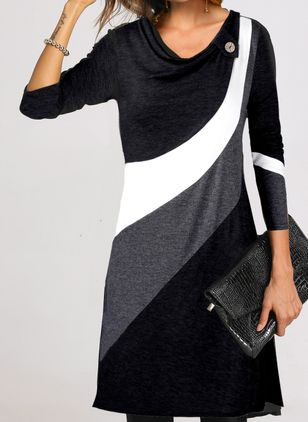 Casual Color Block Tunic V-Neckline A-line Dress (112236558)