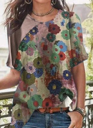 Floral Casual Round Neckline Short Sleeve Blouses (4348855)