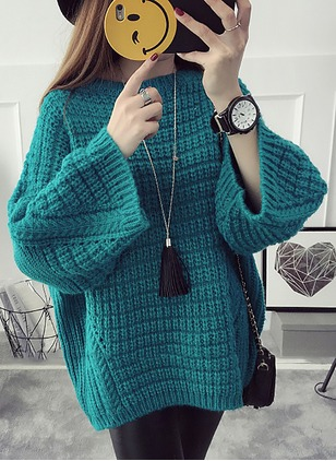 Wool Round Neckline Solid Oversized None Sweaters