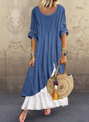 Color Block 3/4 ermer Maxi Kjoler (4339303)