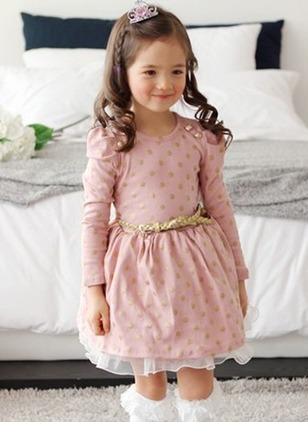 Girls' Polka Dot Daily Long Sleeve Dresses