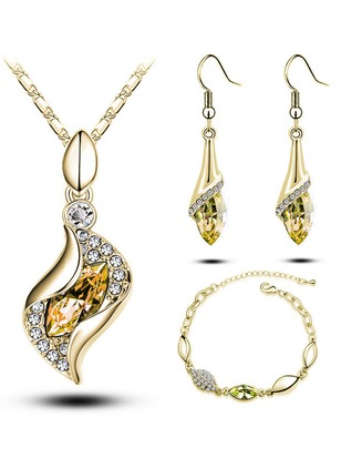 Water Drop Round Crystal Necklace Earring Bracelet Jewelry Sets