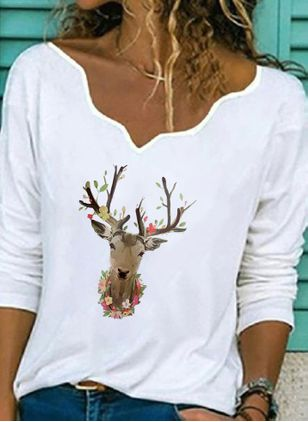 Animal Christmas V-Neckline Long Sleeve Blouses (125152912)