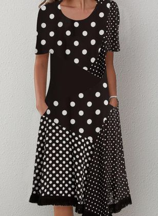Casual Polka Dot Tunic Round Neckline Shift Dress (101326532)