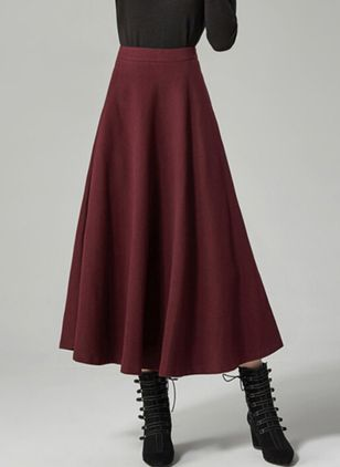 Solid Maxi Casual Ruffles Skirts