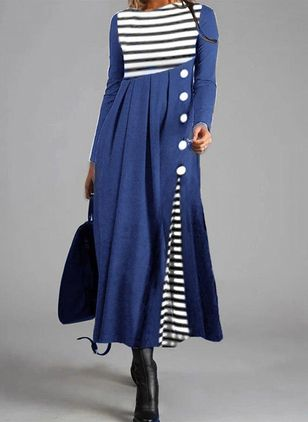 Casual Stripe Shirt Round Neckline Shift Dress (107562501)