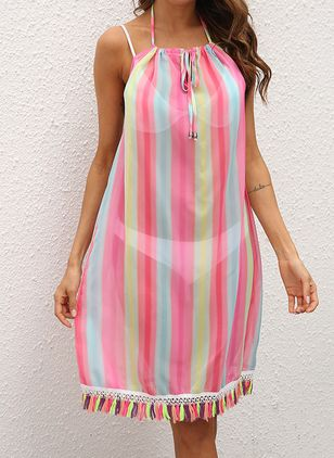 Chiffon Color Block Tassels Cover-Ups Swimwear (146988234)