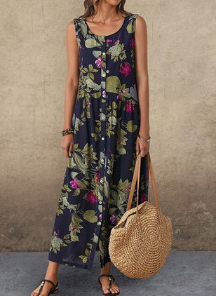 Casual Floral Round Neckline Maxi A-line Dress (1310304)