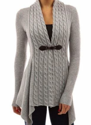 V-Neckline Solid Casual Tight Regular X-line Sweaters (104701900)