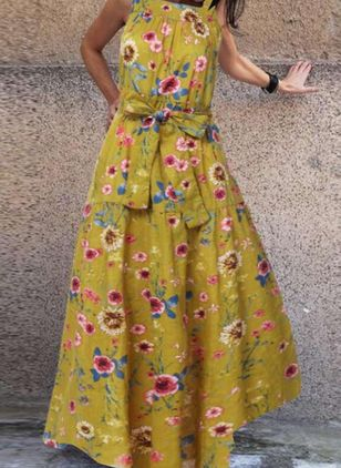 Casual Floral Round Neckline Maxi X-line Dress (100002135)