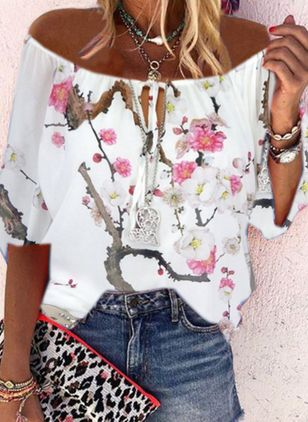 Floral Casual Off the Shoulder 3/4 Sleeves Blouses (4126912)