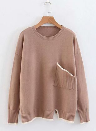Round Neckline Solid Loose Regular Pockets Shift Sweaters